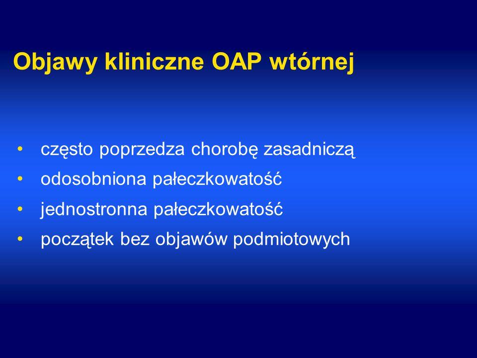 Objawy kliniczne OAP wtórnej
