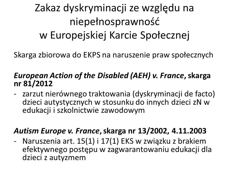 Zakaz dyskryminacji ze względu na niepełnosprawność w Europejskiej Karcie Społecznej
