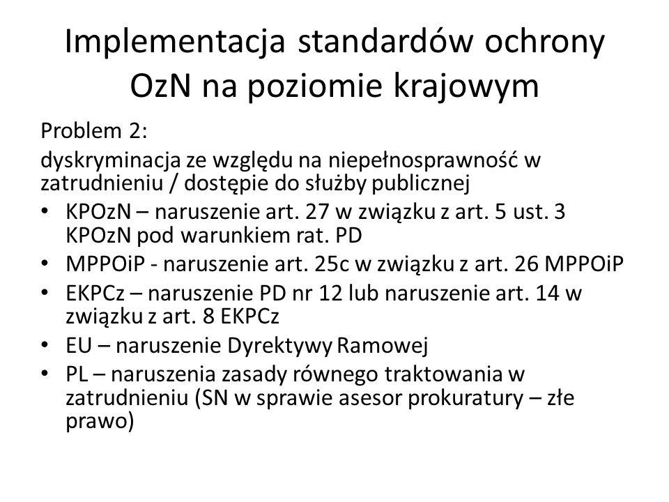 Implementacja standardów ochrony OzN na poziomie krajowym