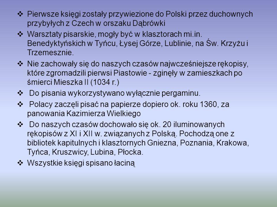 Pierwsze księgi zostały przywiezione do Polski przez duchownych przybyłych z Czech w orszaku Dąbrówki