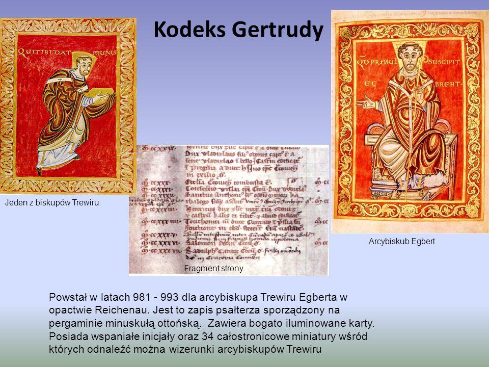 Kodeks Gertrudy Jeden z biskupów Trewiru. Arcybiskub Egbert. Fragment strony.