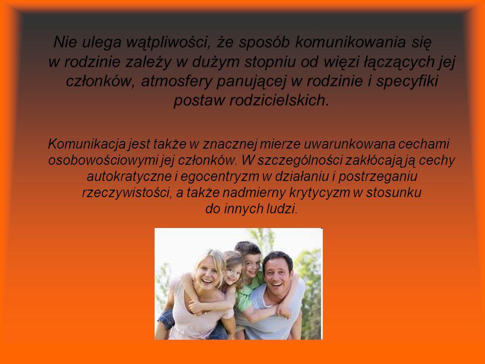 Nie ulega wątpliwości, że sposób komunikowania się w rodzinie zależy w dużym stopniu od więzi łączących jej członków, atmosfery panującej w rodzinie i specyfiki postaw rodzicielskich.