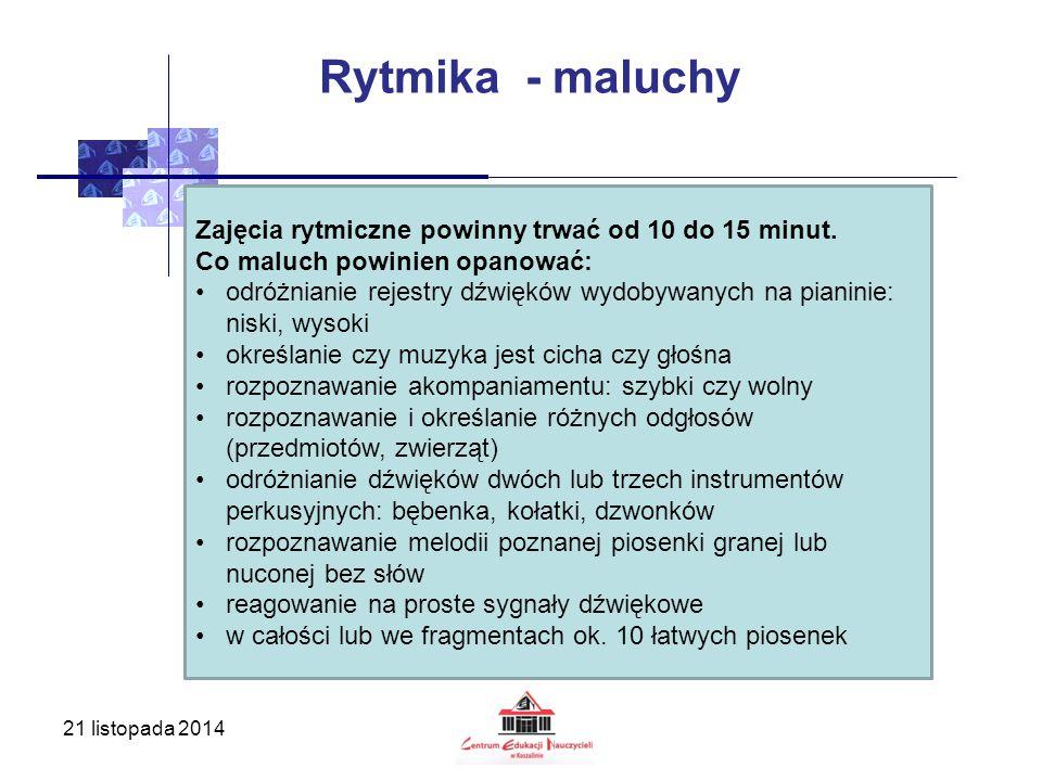 Rytmika - maluchy Zajęcia rytmiczne powinny trwać od 10 do 15 minut.