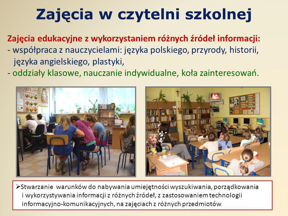 Zajęcia w czytelni szkolnej