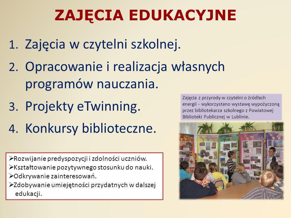 Zajęcia w czytelni szkolnej.