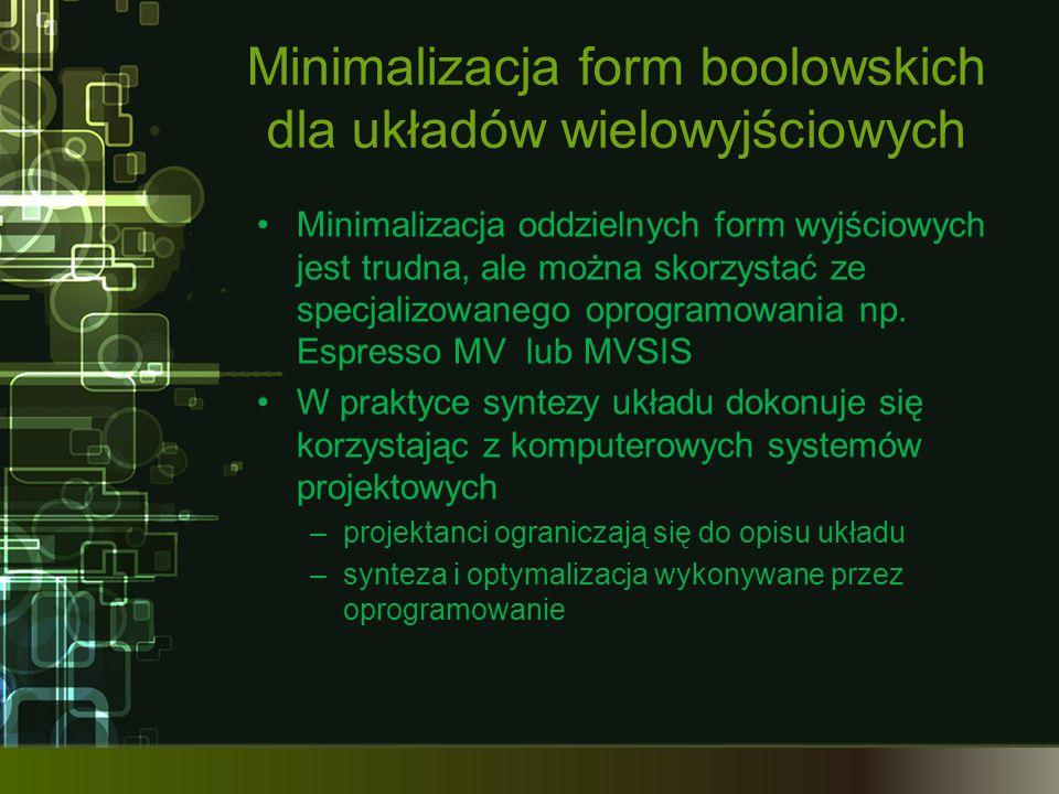 Minimalizacja form boolowskich dla układów wielowyjściowych