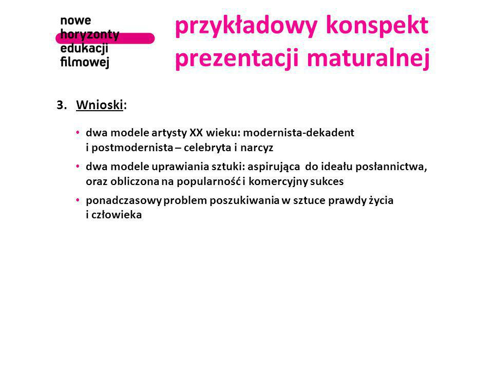 przykładowy konspekt prezentacji maturalnej