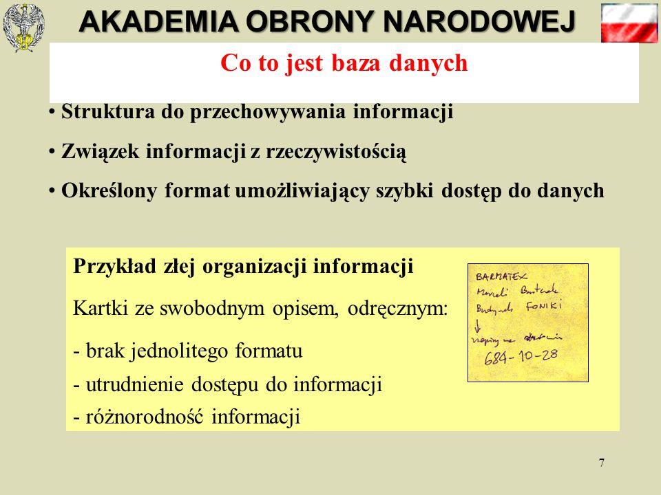 Co to jest baza danych Struktura do przechowywania informacji