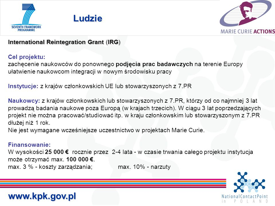 Ludzie   International Reintegration Grant (IRG)