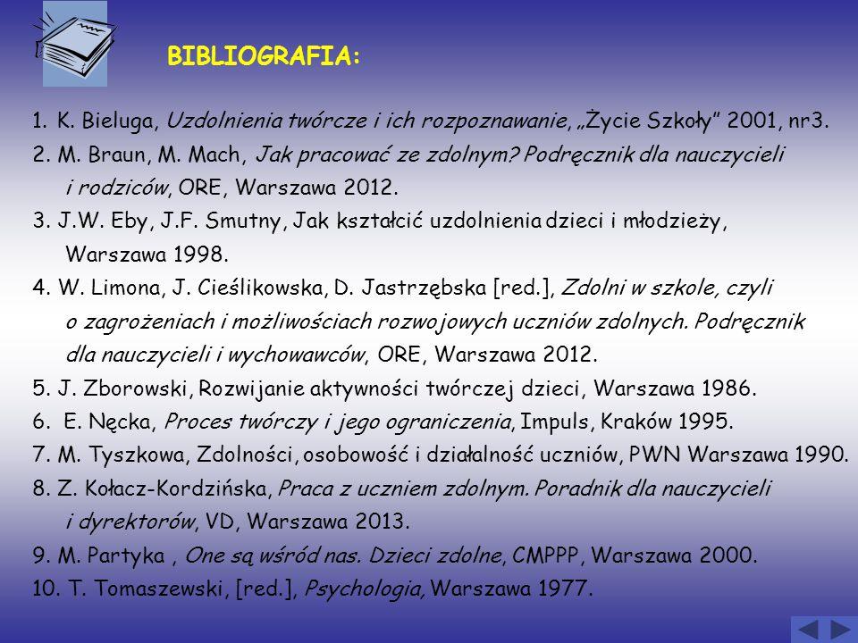 """BIBLIOGRAFIA: 1. K. Bieluga, Uzdolnienia twórcze i ich rozpoznawanie, """"Życie Szkoły 2001, nr3."""