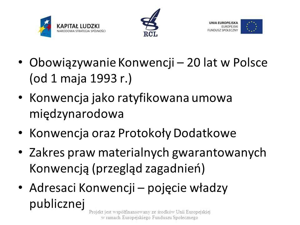 Obowiązywanie Konwencji – 20 lat w Polsce (od 1 maja 1993 r.)