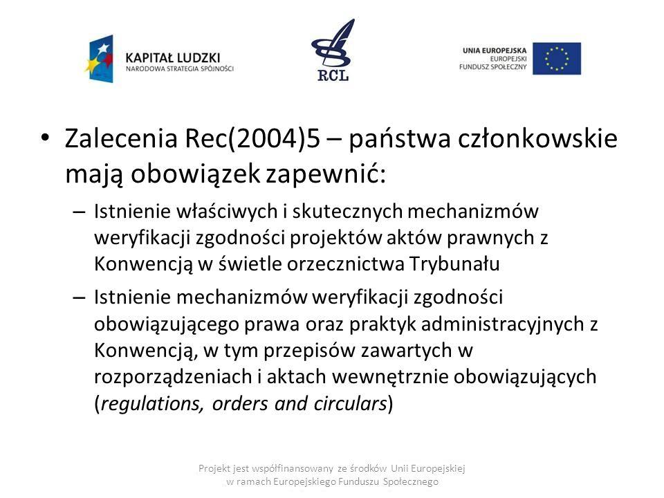 Zalecenia Rec(2004)5 – państwa członkowskie mają obowiązek zapewnić: