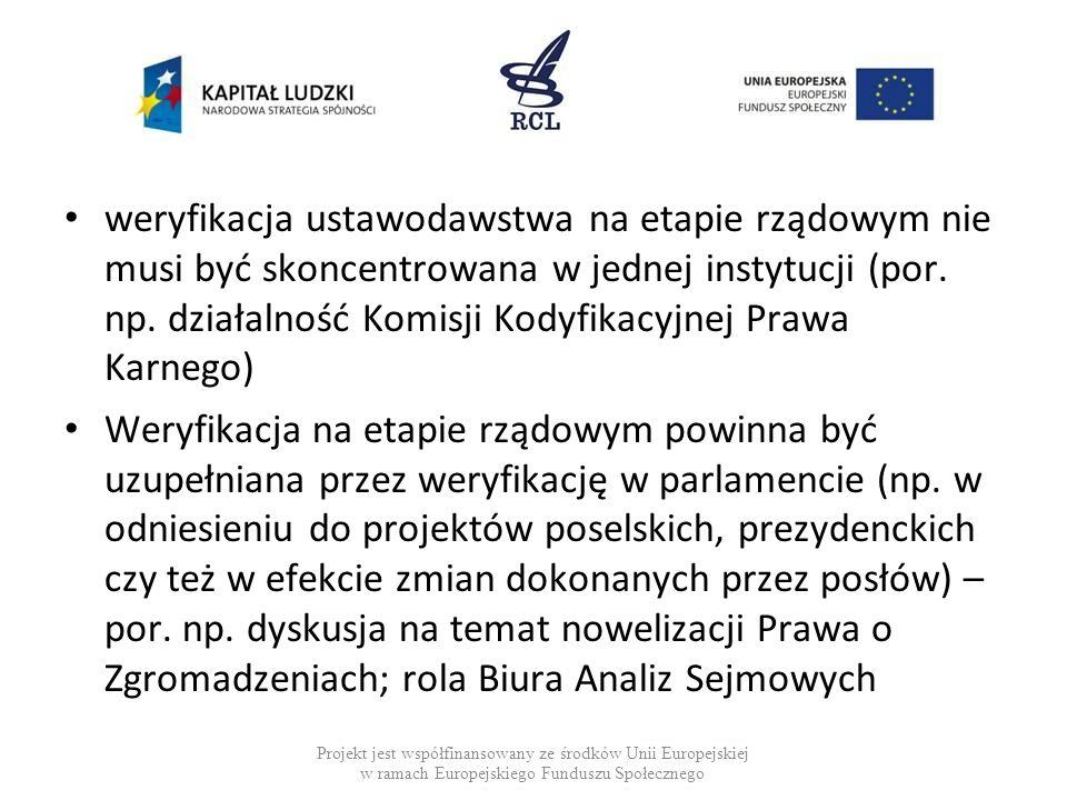 weryfikacja ustawodawstwa na etapie rządowym nie musi być skoncentrowana w jednej instytucji (por. np. działalność Komisji Kodyfikacyjnej Prawa Karnego)