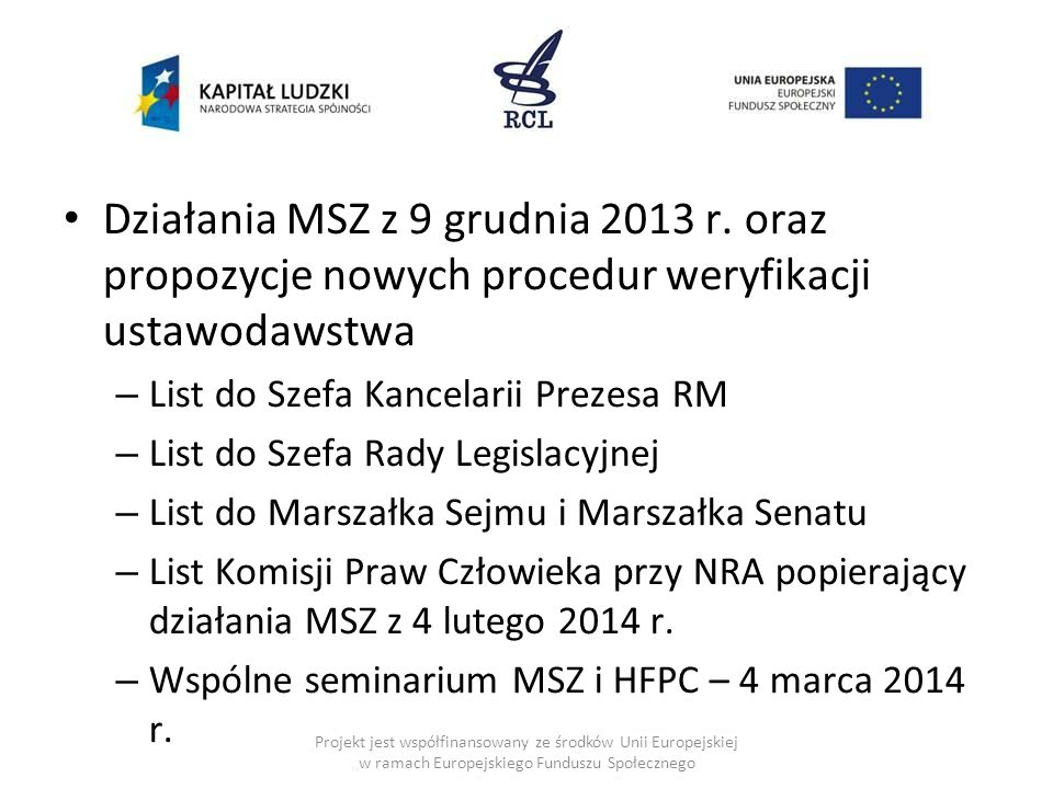 Działania MSZ z 9 grudnia 2013 r