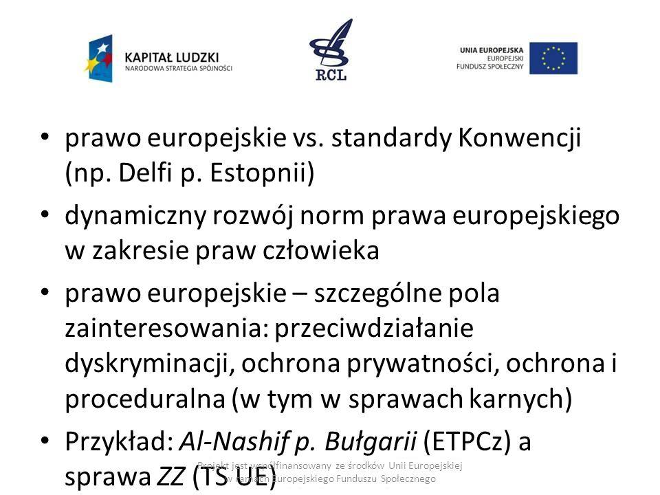 prawo europejskie vs. standardy Konwencji (np. Delfi p. Estopnii)