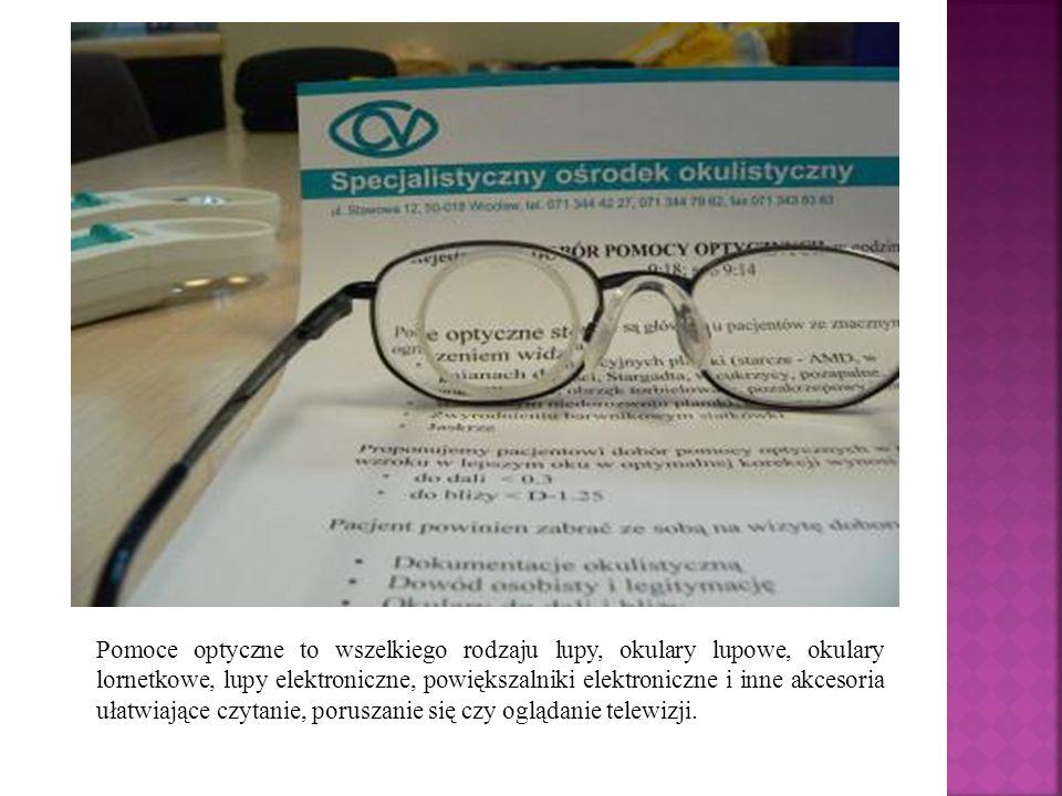 Pomoce optyczne to wszelkiego rodzaju lupy, okulary lupowe, okulary lornetkowe, lupy elektroniczne, powiększalniki elektroniczne i inne akcesoria ułatwiające czytanie, poruszanie się czy oglądanie telewizji.