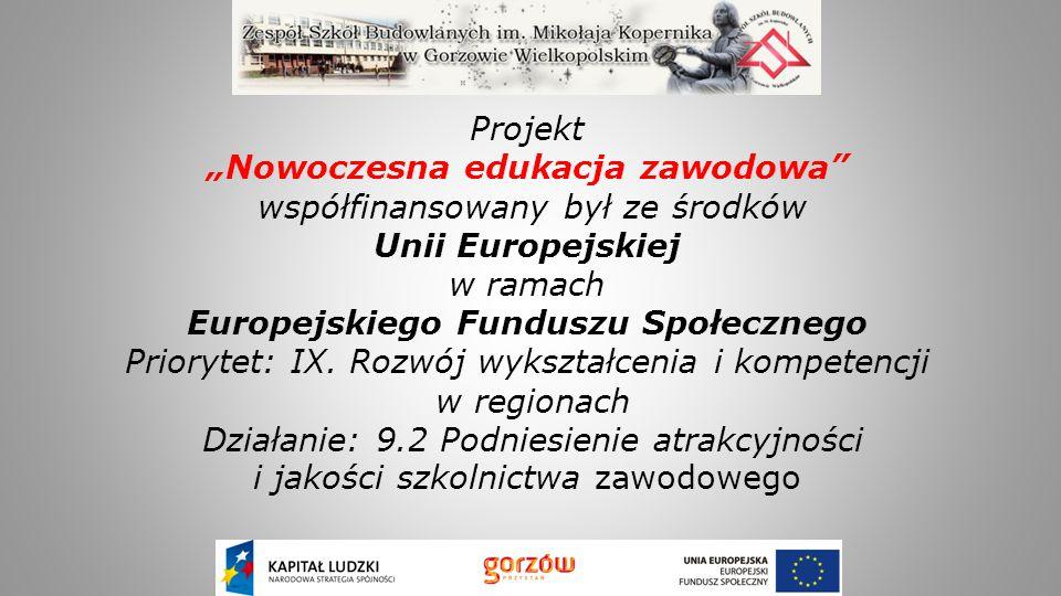 """Projekt """"Nowoczesna edukacja zawodowa współfinansowany był ze środków Unii Europejskiej w ramach Europejskiego Funduszu Społecznego Priorytet: IX."""