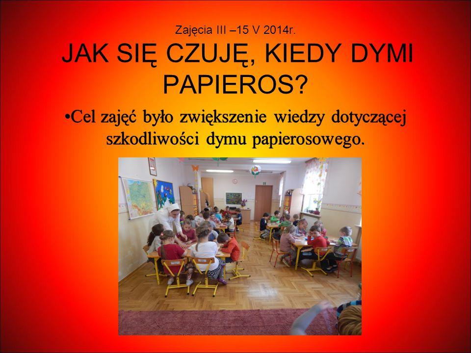 Zajęcia III –15 V 2014r. JAK SIĘ CZUJĘ, KIEDY DYMI PAPIEROS