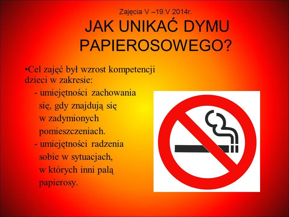 Zajęcia V –19.V 2014r. JAK UNIKAĆ DYMU PAPIEROSOWEGO