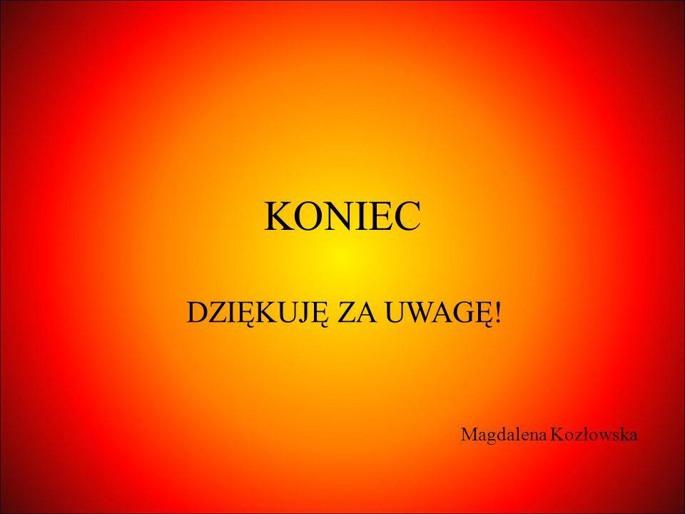 KONIEC DZIĘKUJĘ ZA UWAGĘ! Magdalena Kozłowska