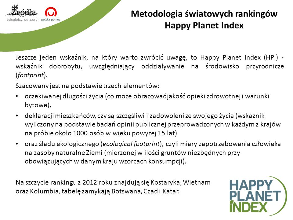 Metodologia światowych rankingów Happy Planet Index