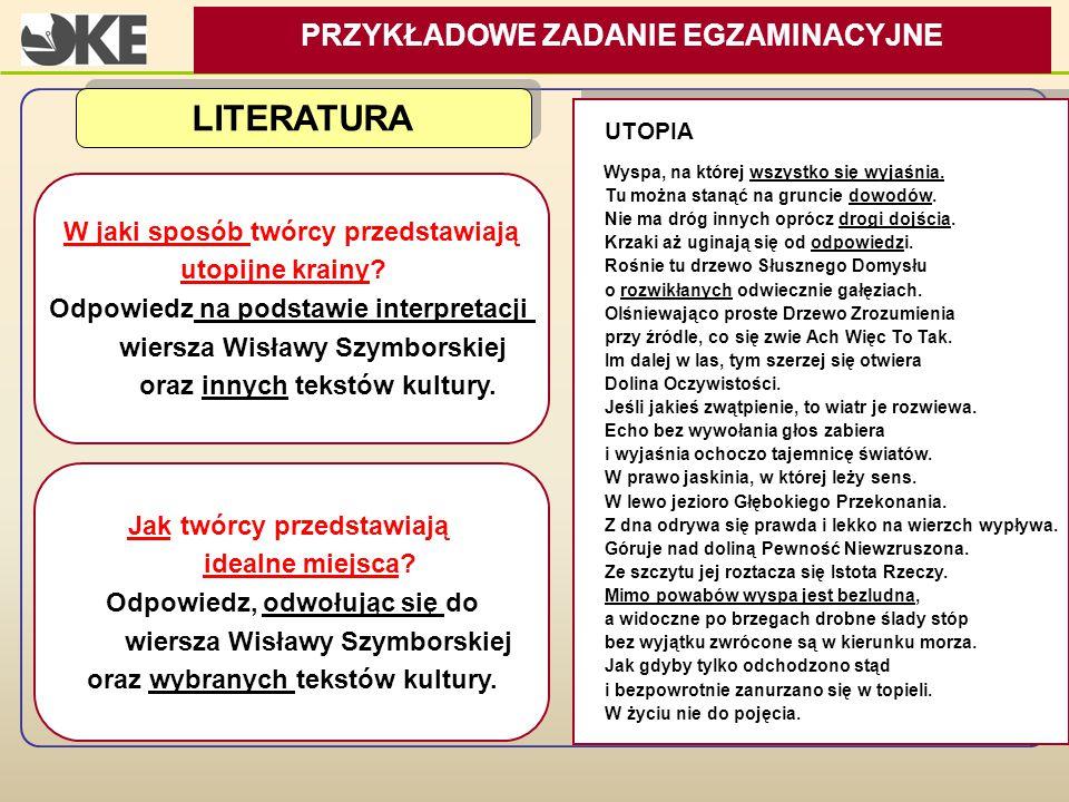 LITERATURA PRZYKŁADOWE ZADANIE EGZAMINACYJNE