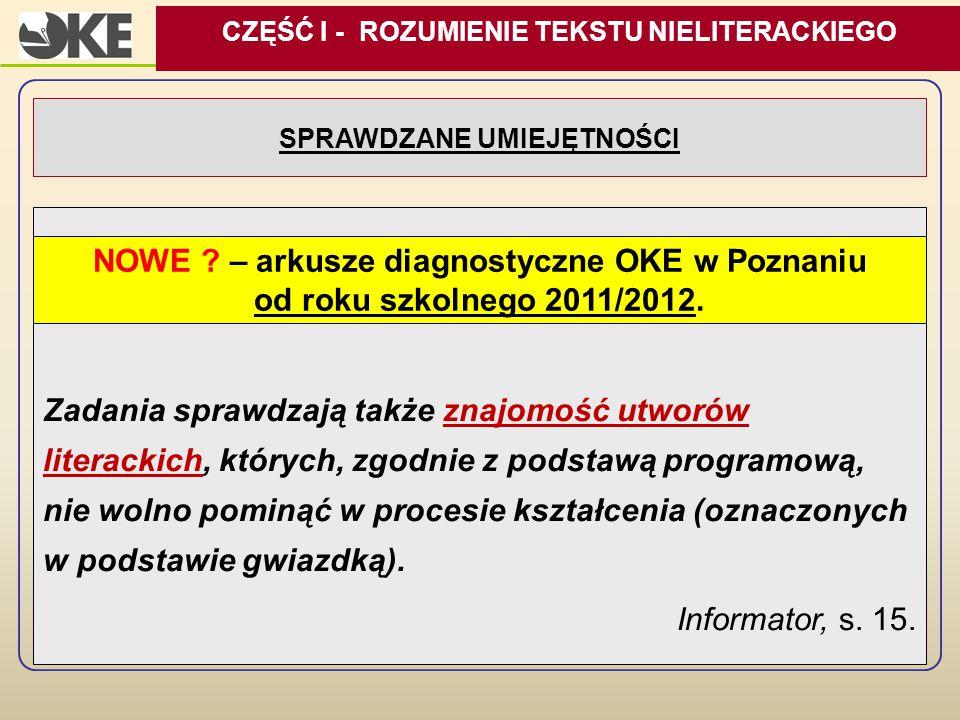 NOWE – arkusze diagnostyczne OKE w Poznaniu