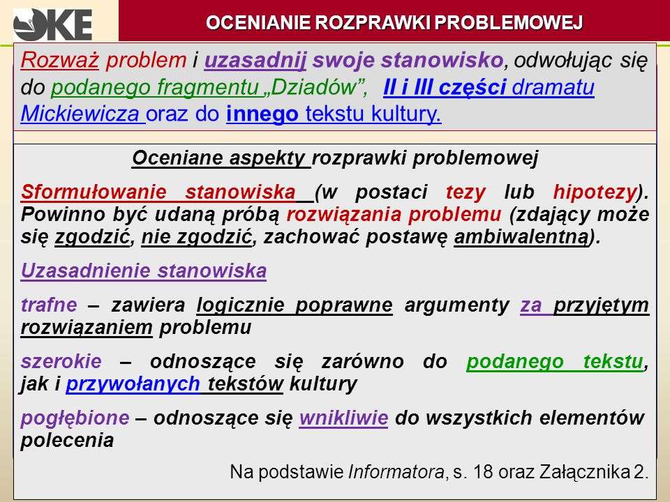 OCENIANIE ROZPRAWKI PROBLEMOWEJ Oceniane aspekty rozprawki problemowej