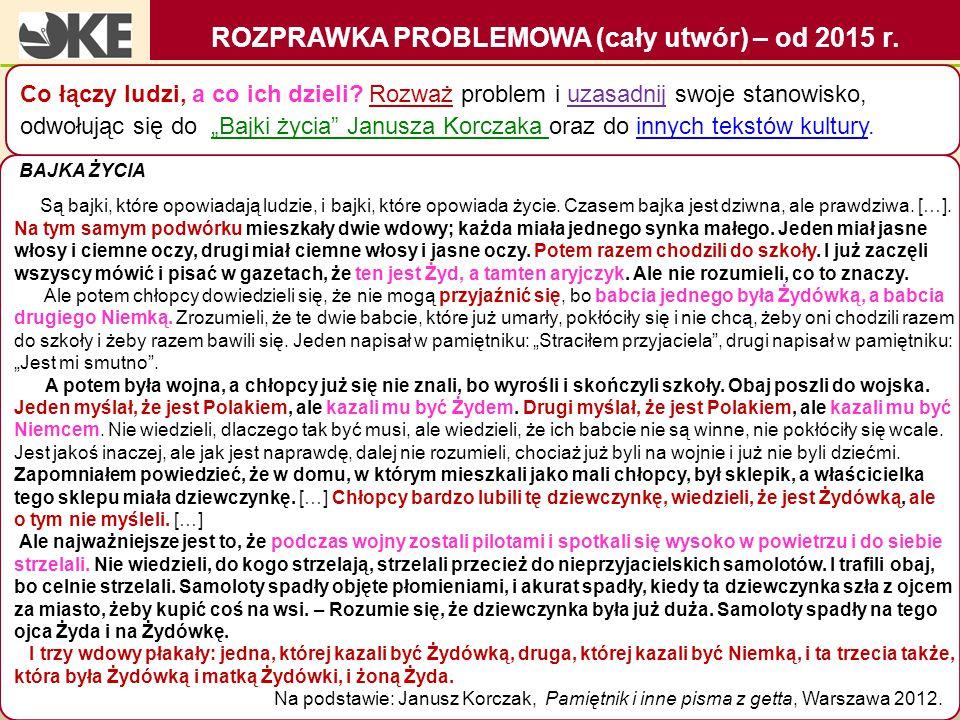 ROZPRAWKA PROBLEMOWA (cały utwór) – od 2015 r.