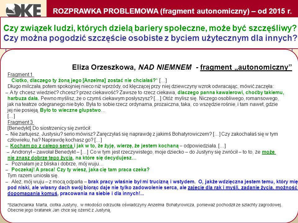 ROZPRAWKA PROBLEMOWA (fragment autonomiczny) – od 2015 r.