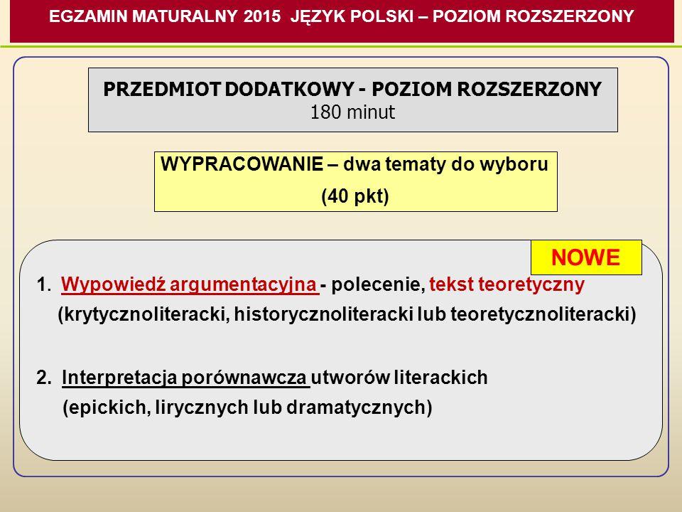 NOWE PRZEDMIOT DODATKOWY - POZIOM ROZSZERZONY 180 minut