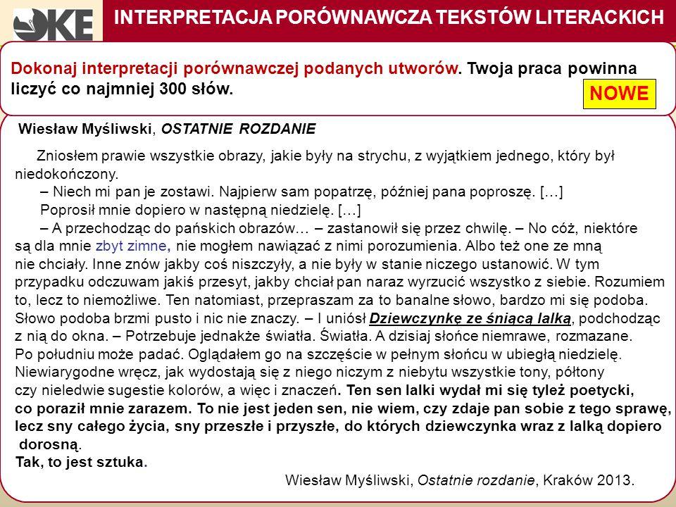 INTERPRETACJA PORÓWNAWCZA TEKSTÓW LITERACKICH