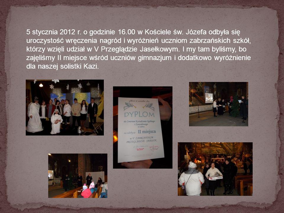 5 stycznia 2012 r. o godzinie 16. 00 w Kościele św