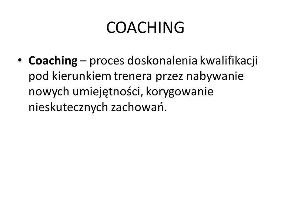 COACHING Coaching – proces doskonalenia kwalifikacji pod kierunkiem trenera przez nabywanie nowych umiejętności, korygowanie nieskutecznych zachowań.