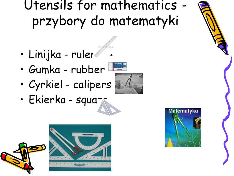 Utensils for mathematics - przybory do matematyki
