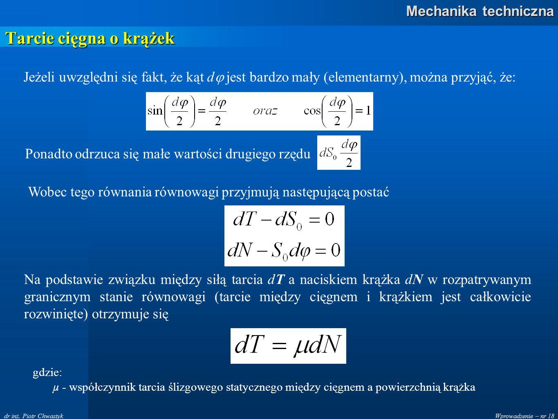 Tarcie cięgna o krążek Jeżeli uwzględni się fakt, że kąt d jest bardzo mały (elementarny), można przyjąć, że: