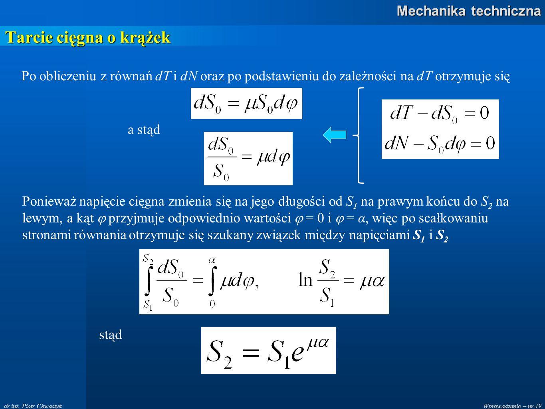 Tarcie cięgna o krążek Po obliczeniu z równań dT i dN oraz po podstawieniu do zależności na dT otrzymuje się.