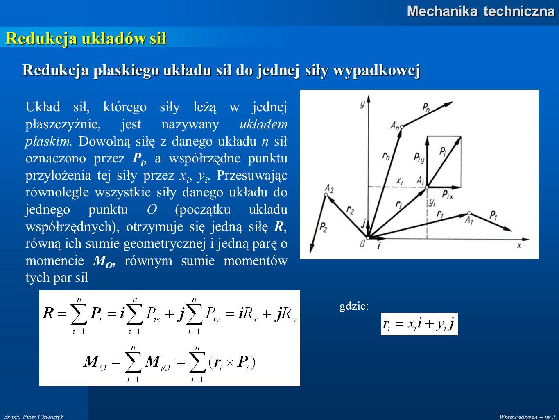 Redukcja układów sił Redukcja płaskiego układu sił do jednej siły wypadkowej.