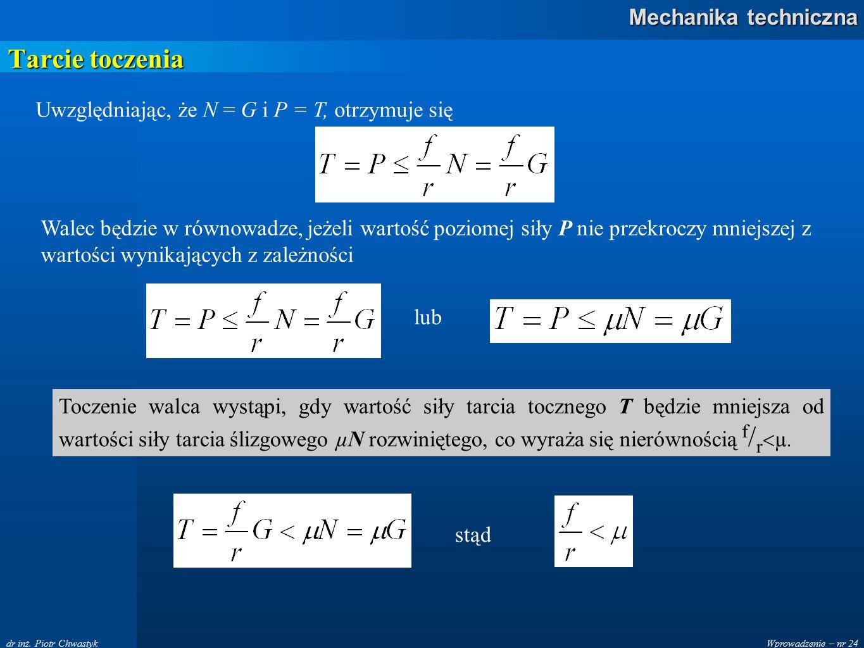 Tarcie toczenia Uwzględniając, że N = G i P = T, otrzymuje się