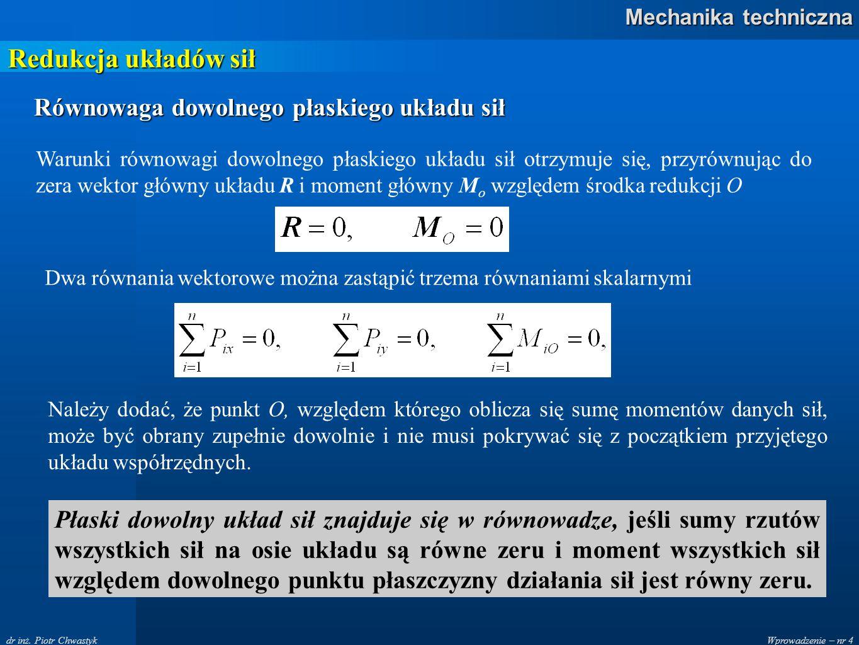 Redukcja układów sił Równowaga dowolnego płaskiego układu sił
