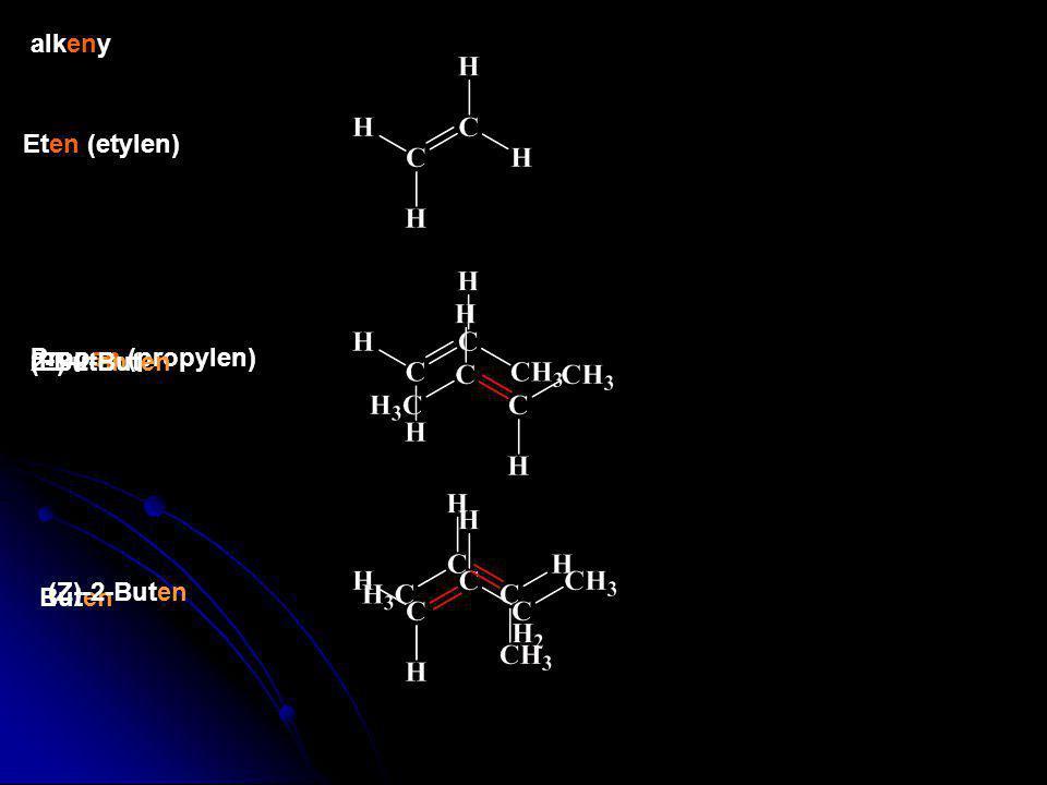 alkeny Eten (etylen) Propen (propylen) 2-Buten (E)-2-Buten Buten (Z)-2-Buten