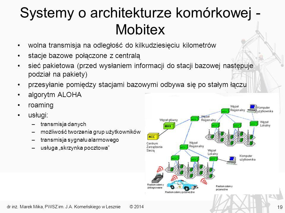Systemy o architekturze komórkowej - Mobitex