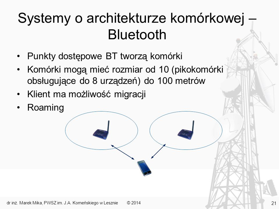 Systemy o architekturze komórkowej – Bluetooth