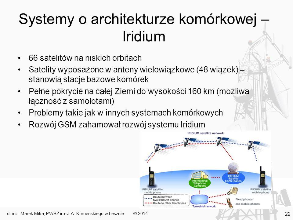Systemy o architekturze komórkowej – Iridium
