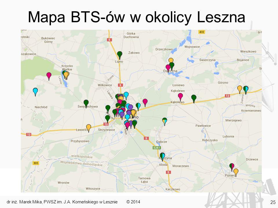Mapa BTS-ów w okolicy Leszna