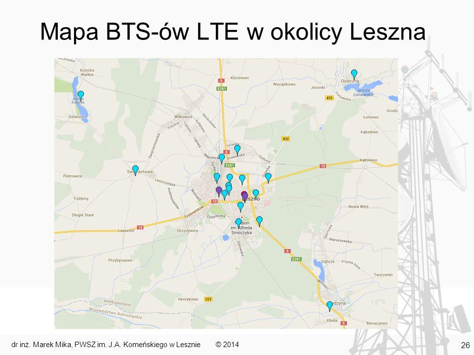 Mapa BTS-ów LTE w okolicy Leszna