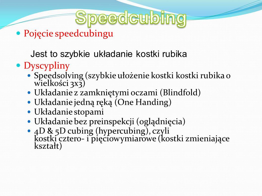 Speedcubing Pojęcie speedcubingu Dyscypliny
