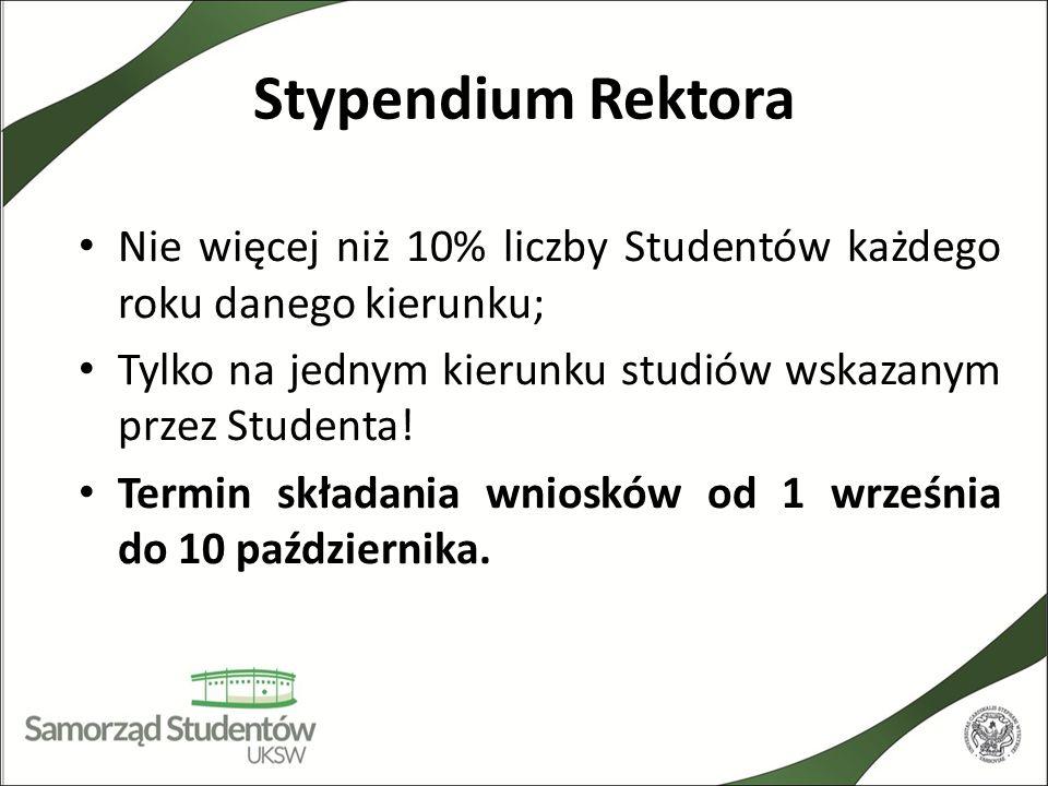 Stypendium Rektora Nie więcej niż 10% liczby Studentów każdego roku danego kierunku; Tylko na jednym kierunku studiów wskazanym przez Studenta!