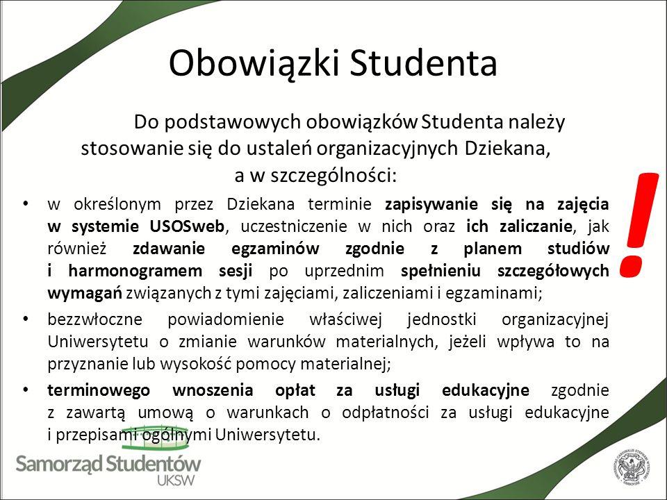 Obowiązki Studenta Do podstawowych obowiązków Studenta należy stosowanie się do ustaleń organizacyjnych Dziekana, a w szczególności: