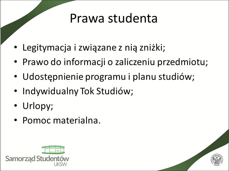 Prawa studenta Legitymacja i związane z nią zniżki;